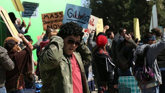 "Skip, played by Josh Gad, joins White House protesters in the episode ""Frosting/Nixon."""