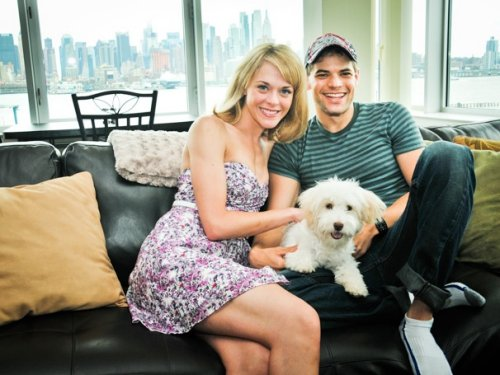 Jeremy Jordan with his wife Ashley Spencer and their dog Riley. (Credit to Broadway.com)