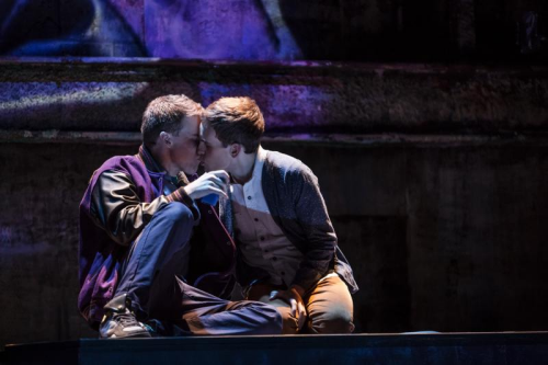 Taylor Trensch (Peter; Right) and Jason Hite (Jason; Left) share their first kiss.