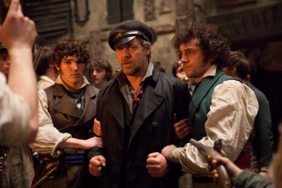Fra Fee, Russell Crowe and George Blagden in Les Miserables.