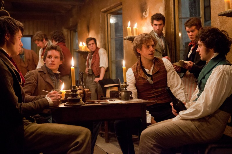 "Eddie Redmayne, Aaron Tveit, George Blagden and others in the film version of ""Les Miserables."""