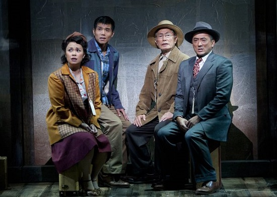 "Lea Salonga, Telly Leung, George Takei, and Paul Nakauchi in ""Allegiance."""