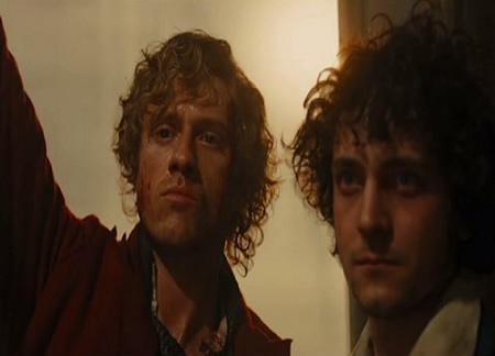 Aaron Tveit and George Blagden as Enjolras and Grantaire.