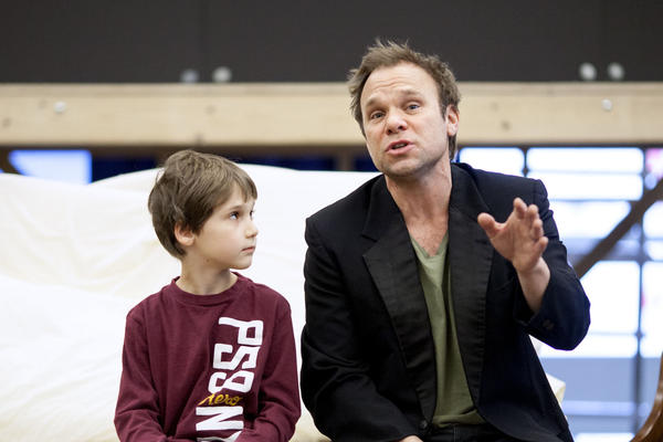 """Norbert Leo Butz and Zachary Unger rehearsing """"Fight the Dragons."""""""