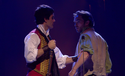 "Ramin and Hadley as Enjolras and Grantaire at the ""Les Miserables"" 25th Anniversary Concert."