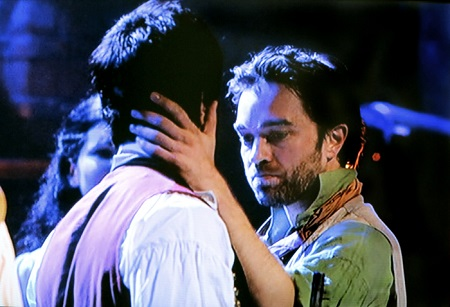 Ramin Karimloo and Hadley Fraser as Enjolras and Grantaire.