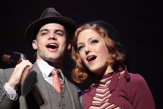 Jeremy Jordan as Clyde and Laura Osnes as Bonnie