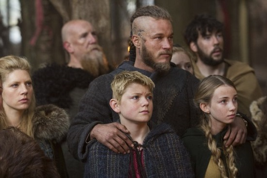 "Lagertha, Ragnar, Bjorn and Gyda in ""Sacrifice."""