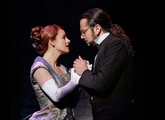 Teal Wicks as Emma Carew with fiance Dr. Henry Jekyll.