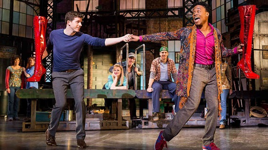 "Billy Porter and Stark Sands as Lola and Charlie in ""Kinky Boots."""