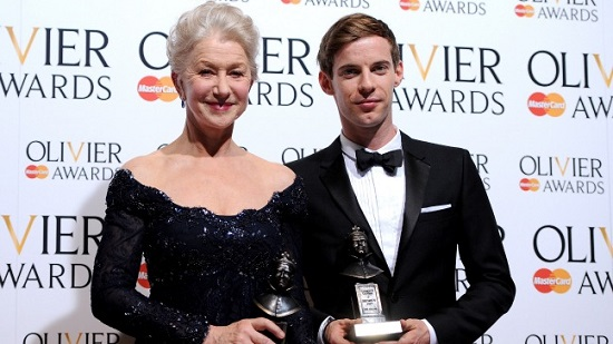 """Best Actor and Actress winners Dame Helen Mirren (""""The Audience"""") and Luke Treadaway (""""The Curious Incident of the Dog in the Night-Time"""")"""