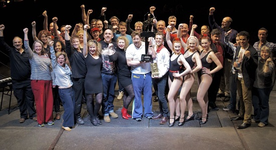 "The cast of ""Sweeney Todd"" with the 2012 West End Eurovision trophy."