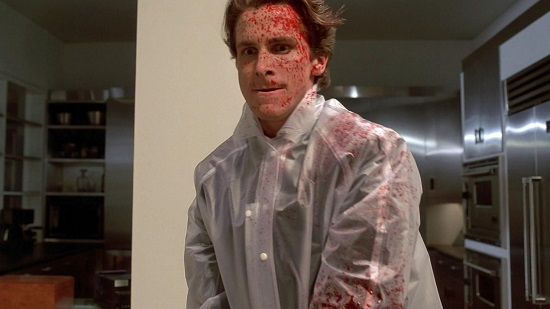 "Christian Bale as Patrick Bateman in the 2000 film adaptation of ""American Psycho."""