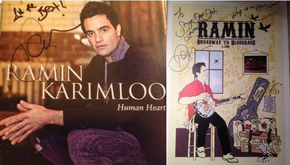 "The CD inscription reads ""All the best, Ramin Karimloo"" and the poster reads ""To: Stage Door Dish Reader, Keep up the good work! Ramin Karimloo."""