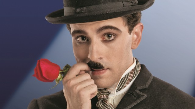 Rob McClure in costume as Charlie Chaplin.