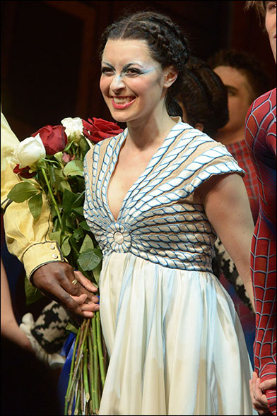 Christina DeCicco taking her first bow as Arachne in Spider-Man: Turn Off the Dark