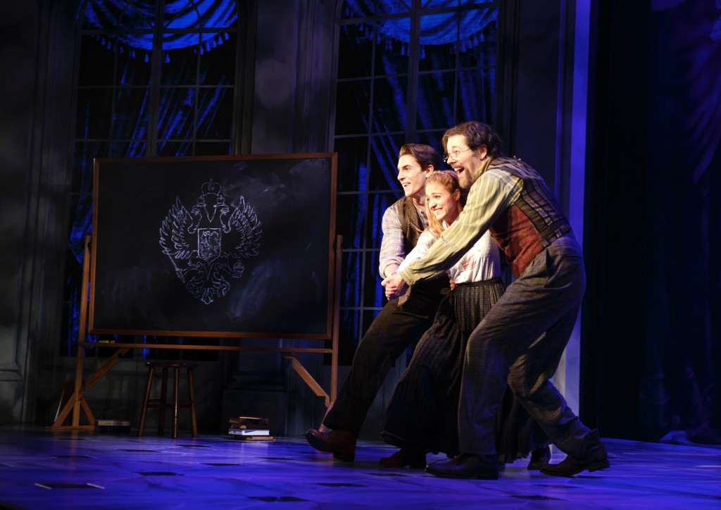 Derek Klena, Christy Altomare and John Bolton in Anastasia.
