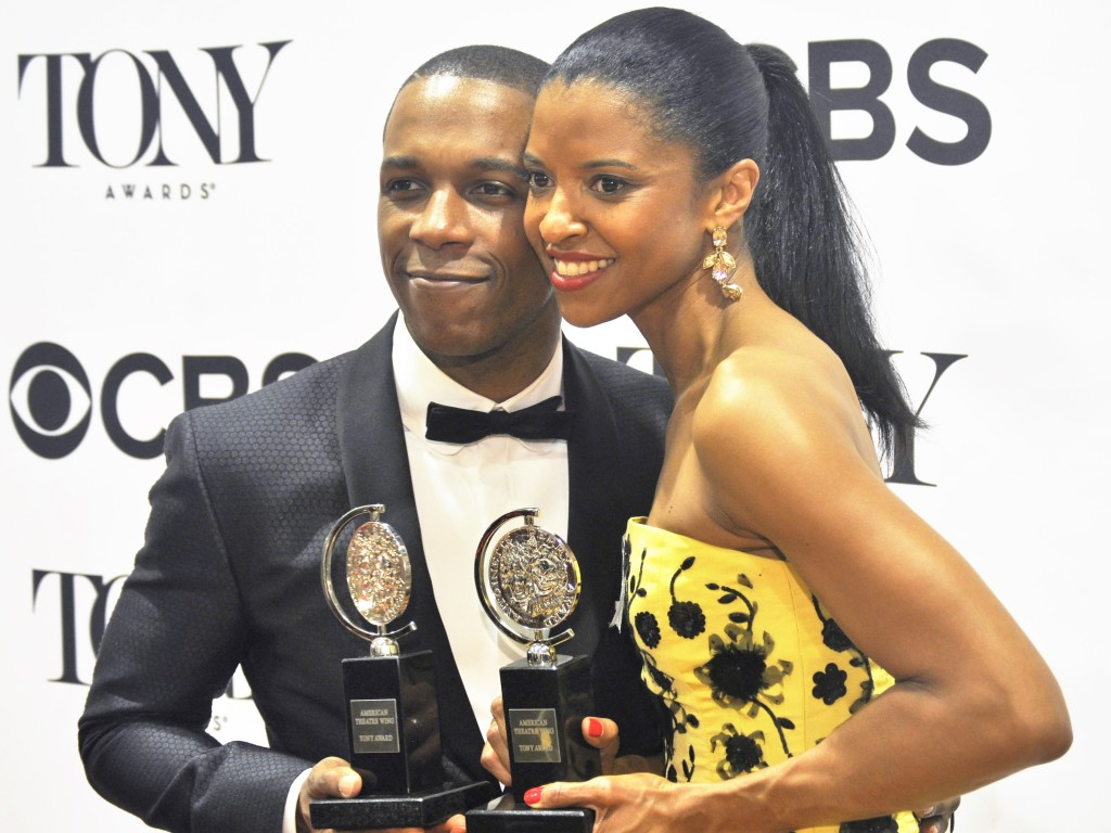 Leslie Odom Jr. and Renee Elise Goldsberry with their Tony Awards for their outstanding performances in Hamilton