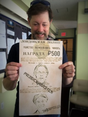 John Bolton with the wanted poster for Vlad and Dimitry used in Anastasia.